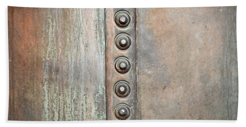 Abstract Hand Towel featuring the photograph Metal Background by Tom Gowanlock