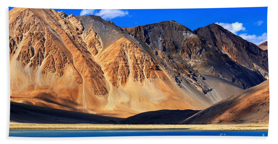 Lake Hand Towel featuring the photograph Mountains Pangong Tso Lake Leh Ladakh Jammu And Kashmir India by Rudra Narayan Mitra