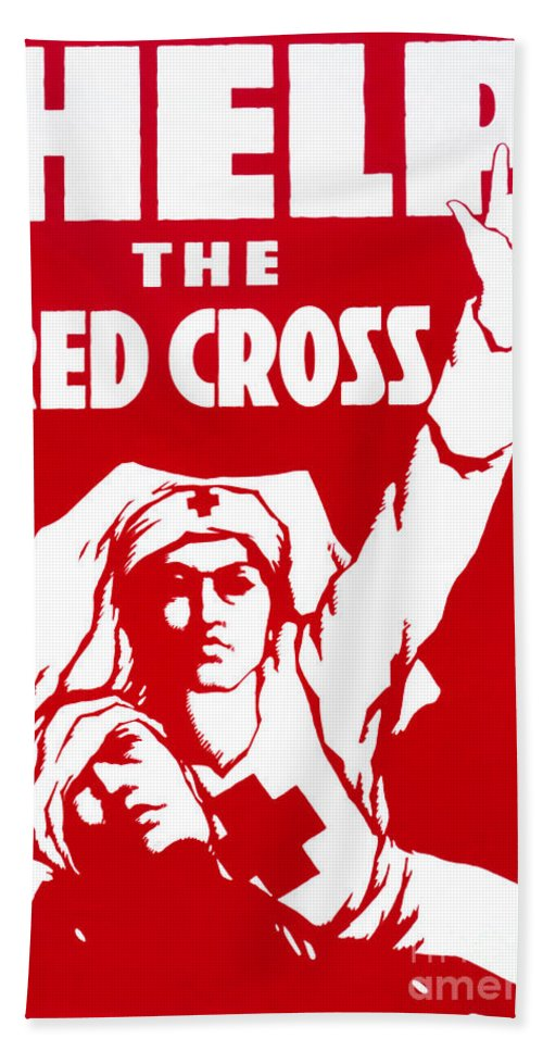 1917 Bath Sheet featuring the photograph Red Cross Poster, 1917 by Granger