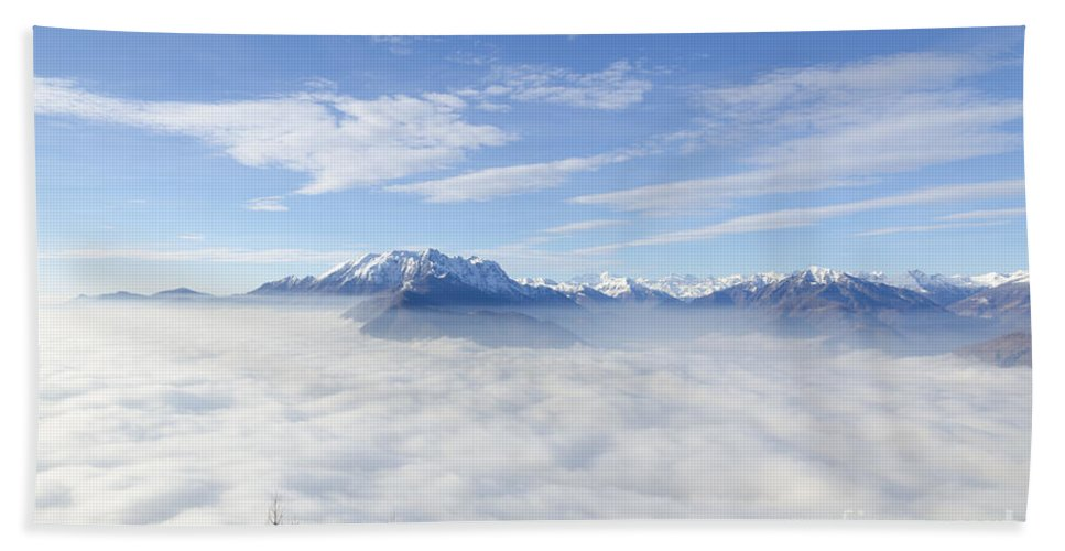 Mountains Bath Sheet featuring the photograph Sea Of Fog by Mats Silvan
