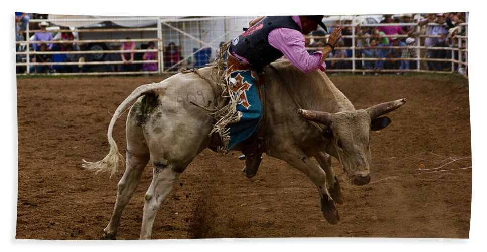 Rodeo Bath Sheet featuring the photograph 8 Seconds In Sonoita by Patrick Moore