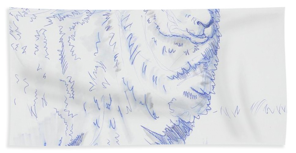 Sheep Bath Sheet featuring the drawing Sheep by Mike Jory