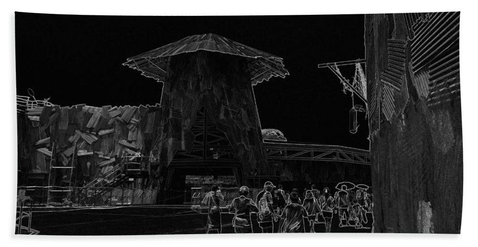 Asia Bath Sheet featuring the digital art Visitors Heading Towards The Waterworld Attraction by Ashish Agarwal