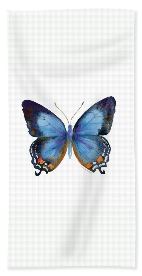 Imperial Blue Butterfly Hand Towel featuring the painting 80 Imperial Blue Butterfly by Amy Kirkpatrick