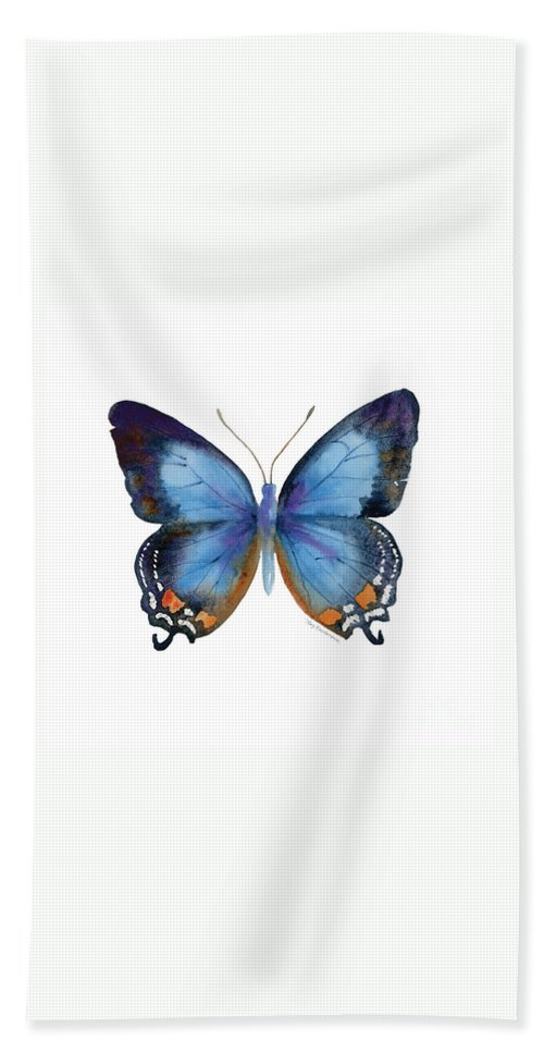 Imperial Blue Butterfly Bath Towel featuring the painting 80 Imperial Blue Butterfly by Amy Kirkpatrick
