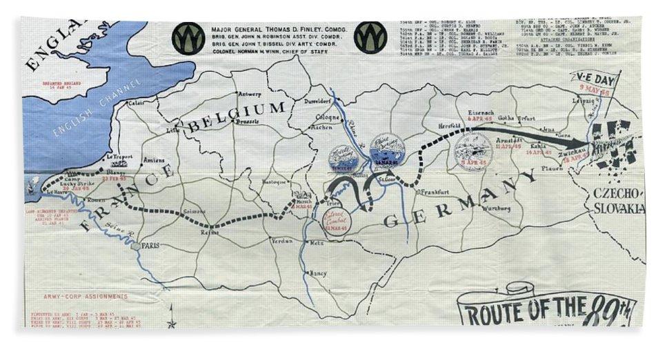 89th Infantry Division World War I I Map Bath Towel