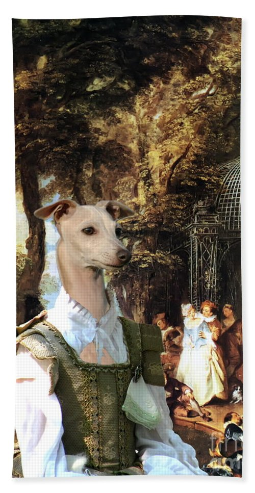 Italian Greyhound Hand Towel featuring the painting Italian Greyhound Art Canvas Print by Sandra Sij