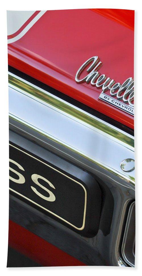 1970 Chevrolet Chevelle Ss Taillight Emblem Bath Sheet featuring the photograph 1970 Chevrolet Chevelle Ss Taillight Emblem by Jill Reger