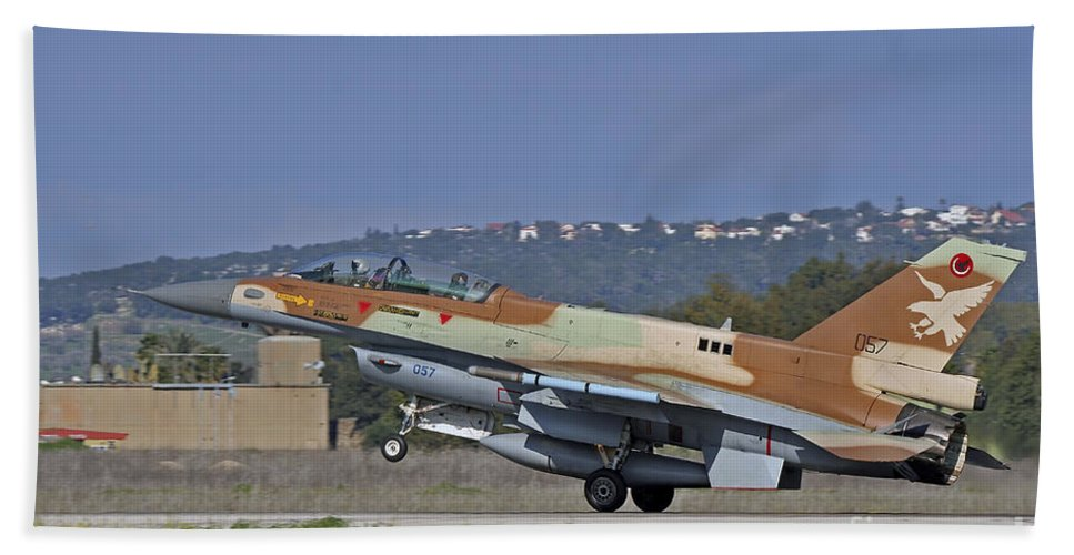 Transportation Bath Sheet featuring the photograph An F-16d Barak Of The Israeli Air Force by Ofer Zidon