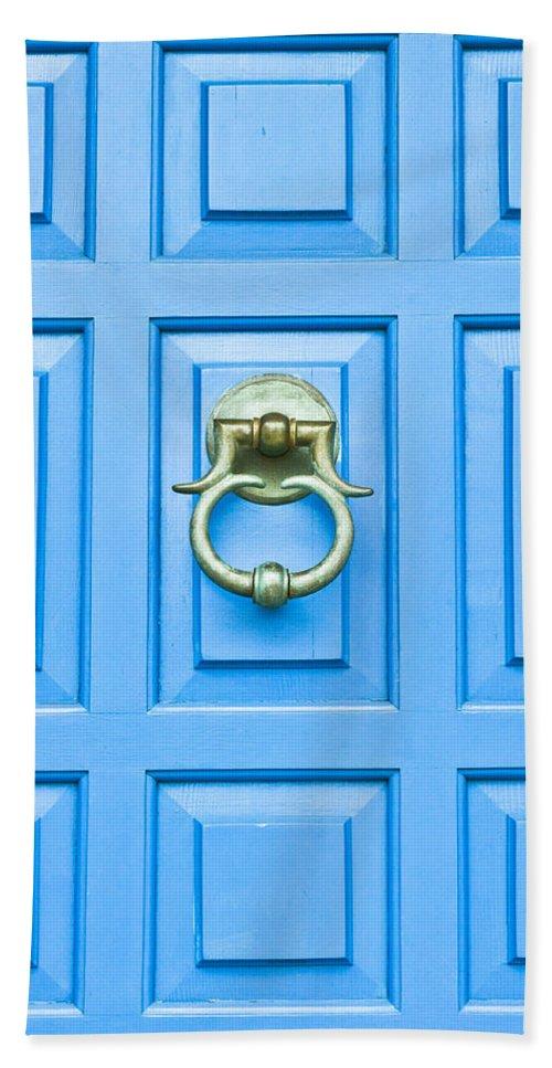 Antique Bath Sheet featuring the photograph Blue Door by Tom Gowanlock