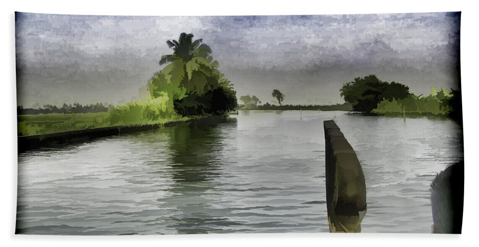 Backwater Bath Sheet featuring the digital art Captain Of The Houseboat Surveying Canal by Ashish Agarwal