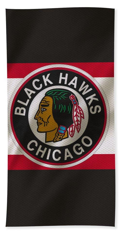 Blackhawks Bath Towel featuring the photograph Chicago Blackhawks Uniform by Joe Hamilton