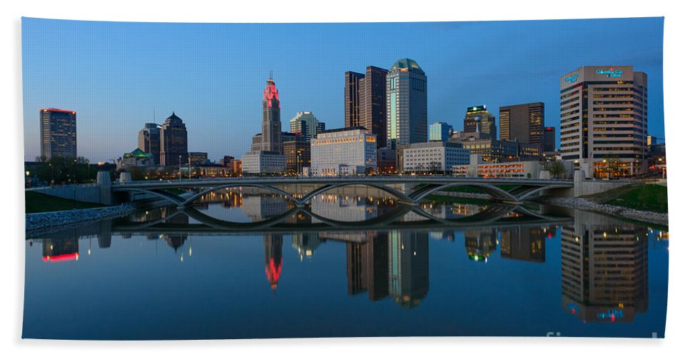 Columbus Hand Towel featuring the photograph Fx2l-508 Columbus Ohio Skyline Photo by Ohio Stock Photography