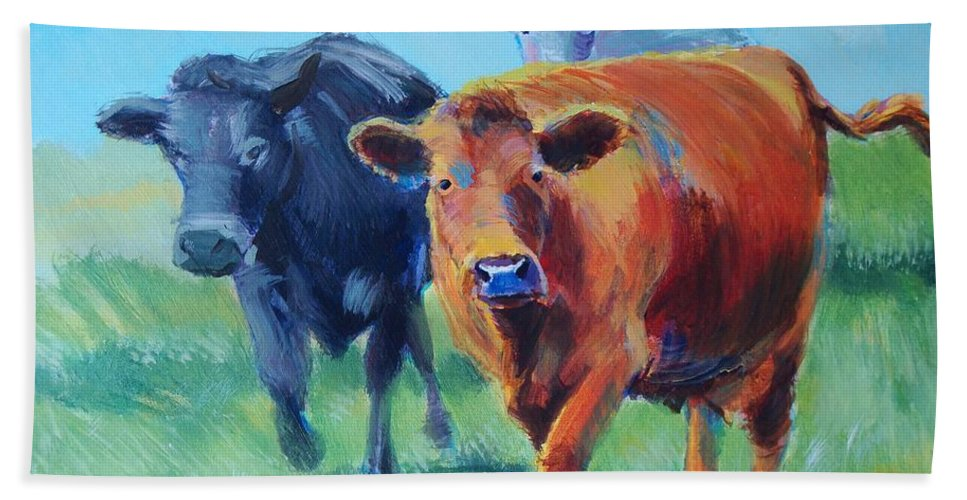 Cows Hand Towel featuring the painting Cows by Mike Jory