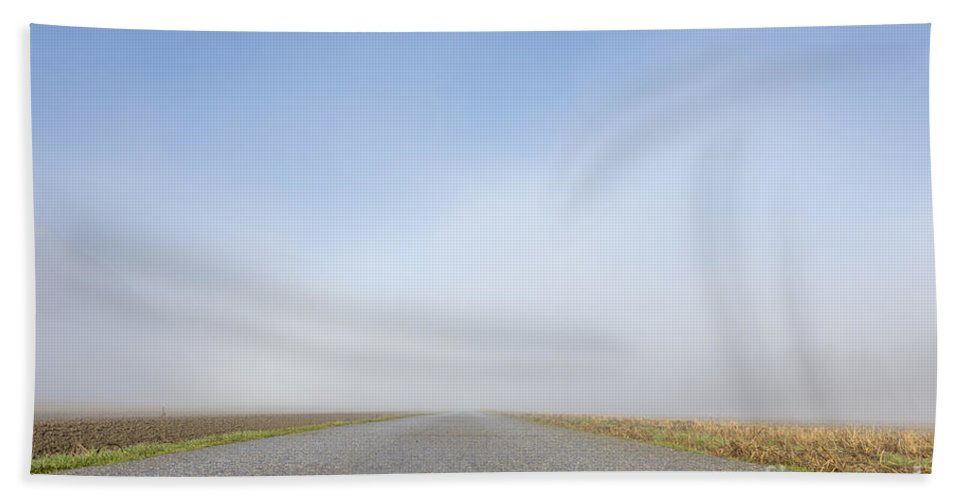 Street Bath Sheet featuring the photograph Foggy Road by Mats Silvan
