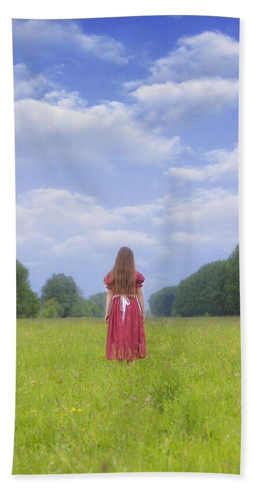 Woman Bath Sheet featuring the photograph Girl On Meadow by Joana Kruse