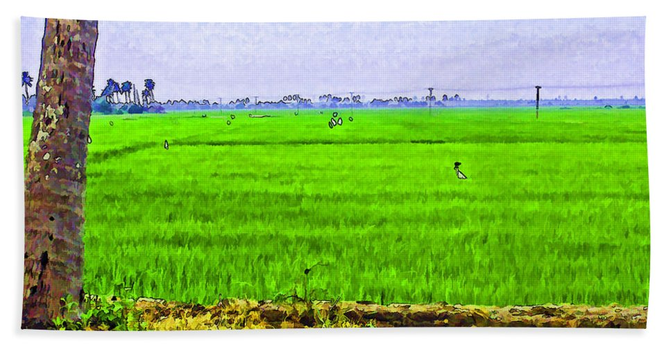 Blue Bath Sheet featuring the digital art Green Fields With Birds by Ashish Agarwal