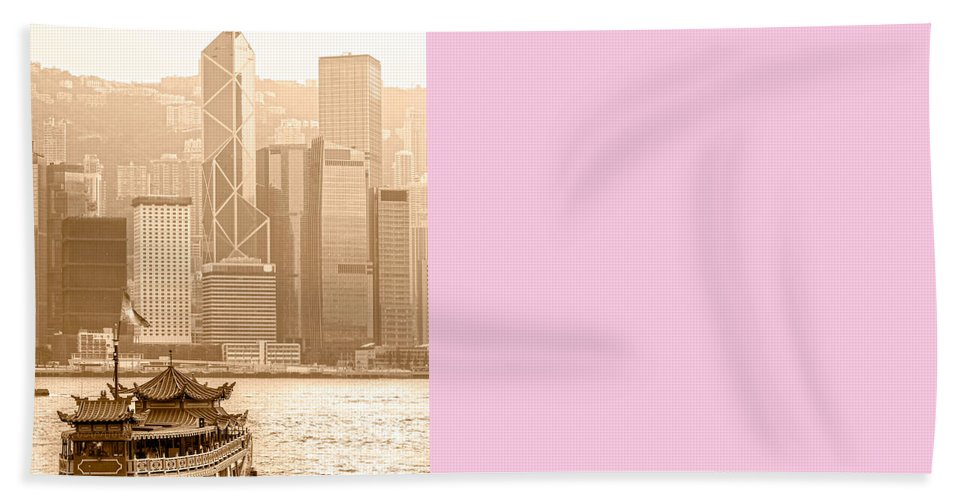 Hongkong Bath Sheet featuring the photograph Hong Kong by Luciano Mortula