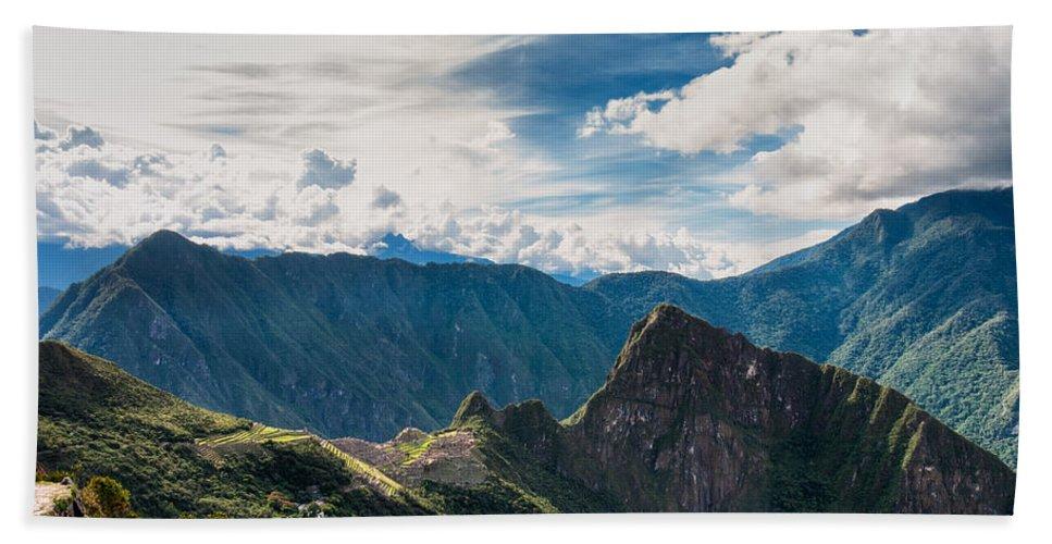Aguas Calientes Bath Sheet featuring the photograph Machu Picchu by U Schade