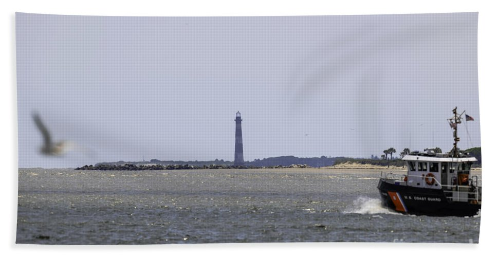 Morris Island Lighthouse Hand Towel featuring the photograph Coast Guard by Dale Powell