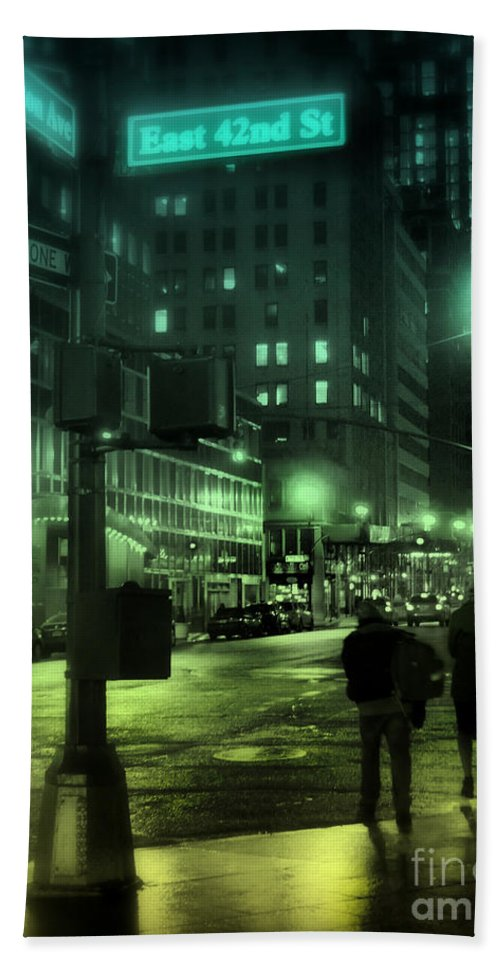 New York Hand Towel featuring the photograph 9 P M In The City by Miriam Danar