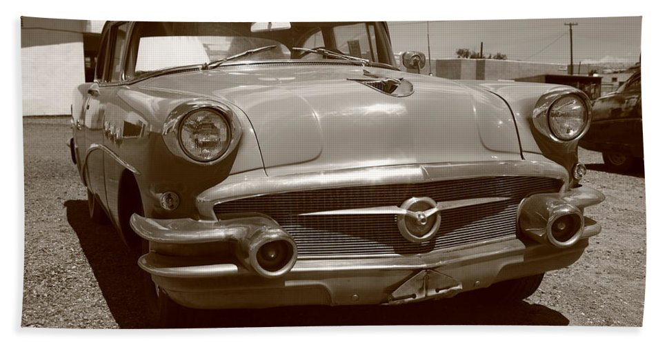 66 Bath Sheet featuring the photograph Route 66 Classic Car by Frank Romeo