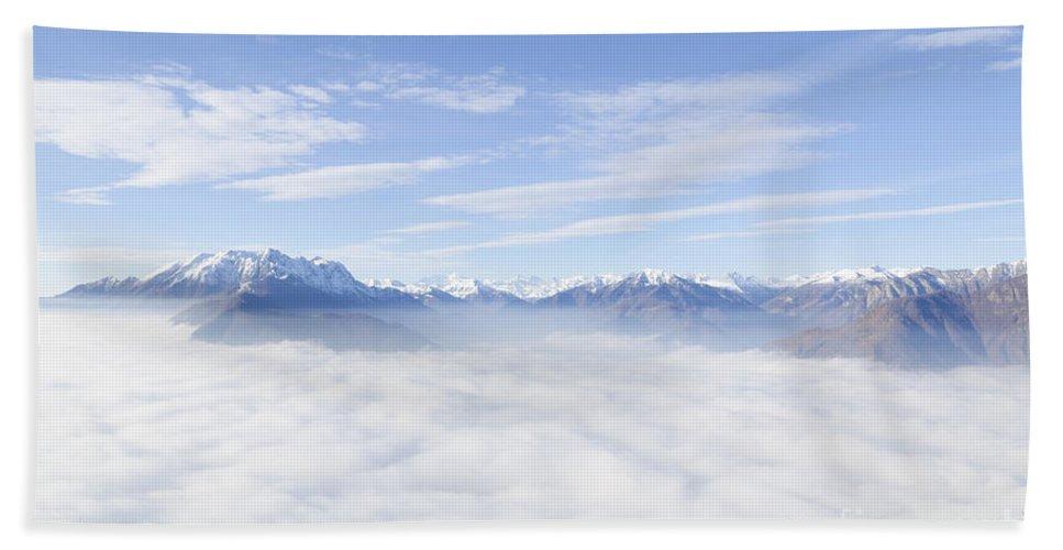 Mountains Bath Sheet featuring the photograph Sea Of Fog by Mats Silvan