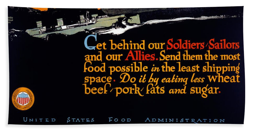 1917 Bath Sheet featuring the painting Wwi Food Supply, 1917 by Granger