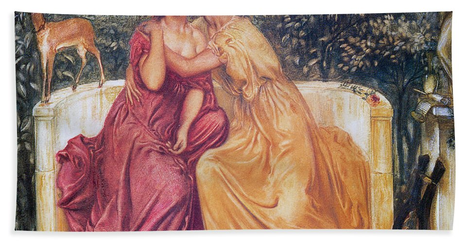 Simeon Solomon Bath Sheet featuring the painting Sappho And Erinna In A Garden by Simeon Solomon