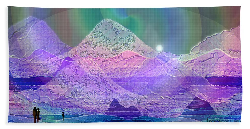 939 Bath Sheet featuring the painting 939 - Magic Mood Mountain World by Irmgard Schoendorf Welch
