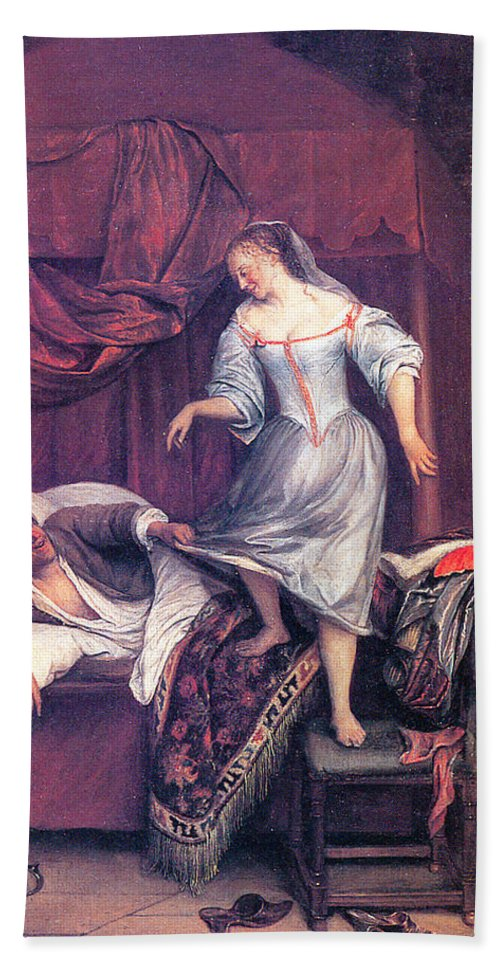Jan Steen Hand Towel featuring the painting The Seduction by Jan Steen