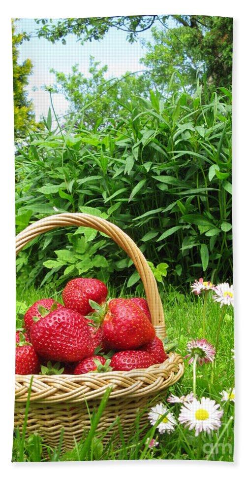 Strawberries Bath Sheet featuring the photograph A Basket Of Strawberries by Ausra Huntington nee Paulauskaite