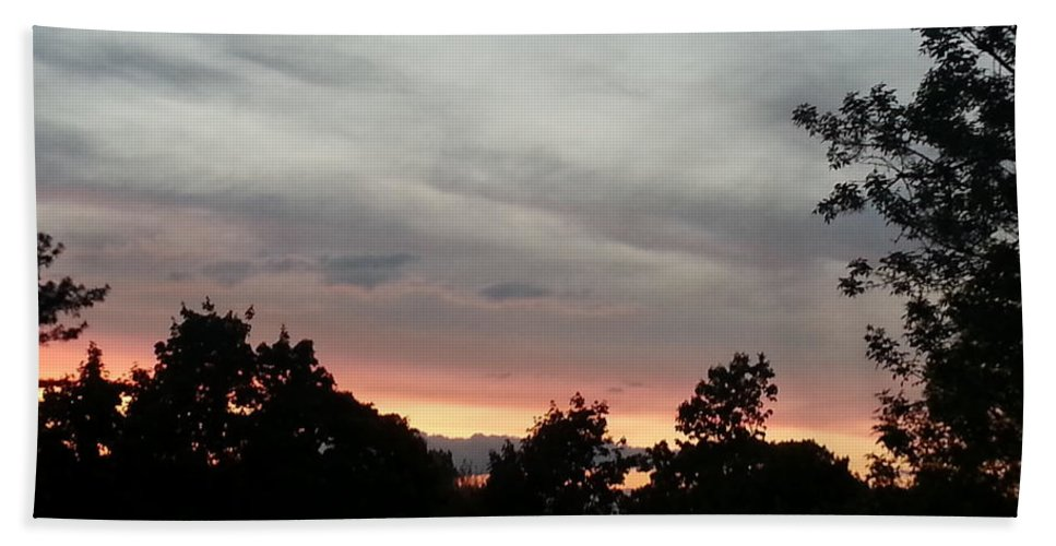 Clouds Hand Towel featuring the photograph A Beautiful Evening Sky by Christy Gendalia