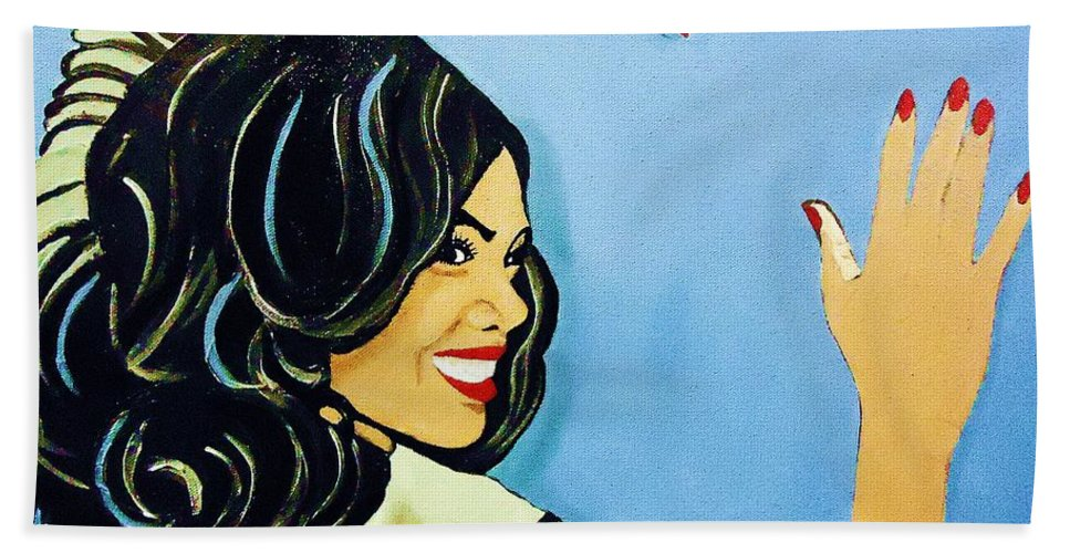 Beautiful Hand Towel featuring the painting A Beautiful Girl 2 by Saundra Myles