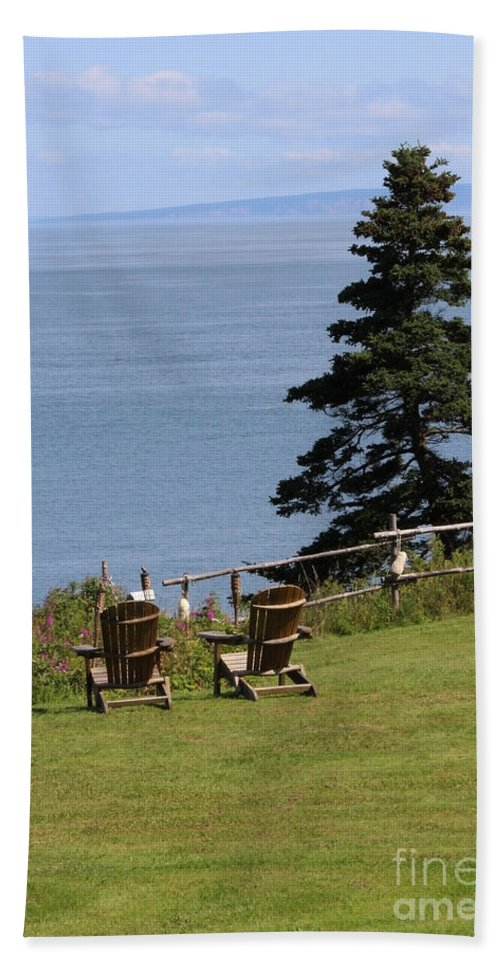 Beach Chairs Hand Towel featuring the photograph A Beautiful View by Cheryl Aguiar