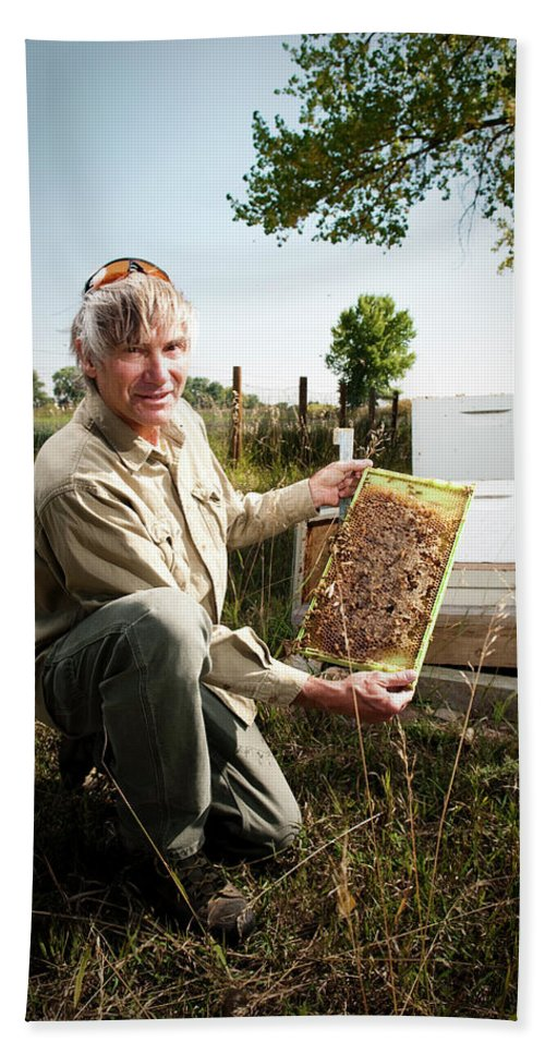 Adult Hand Towel featuring the photograph A Bee Keeper Checks On The Health by Randall Levensaler