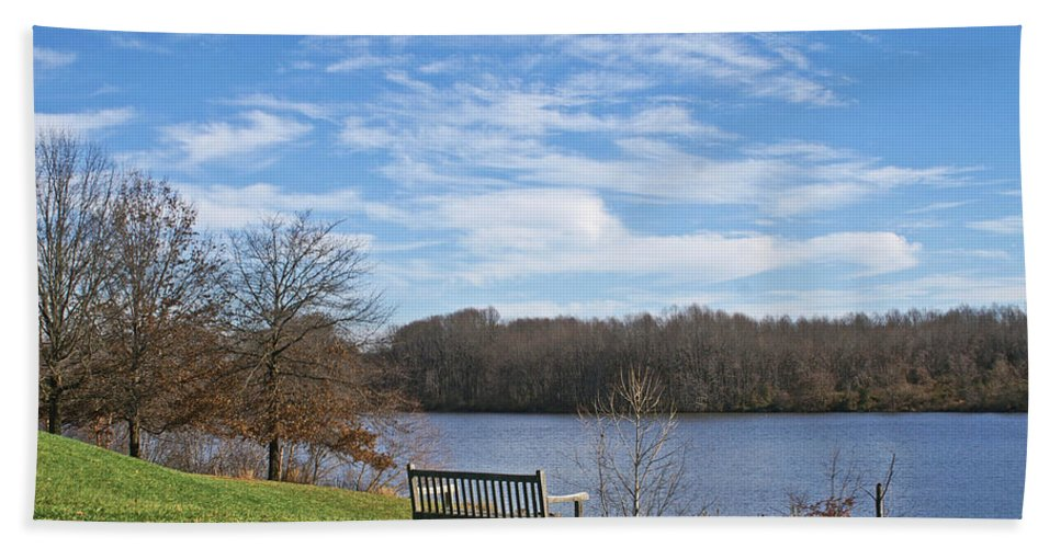 Landscspe Bath Sheet featuring the photograph A Bench With A View by Tom Gari Gallery-Three-Photography