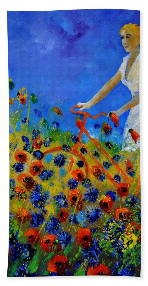 Flowers Hand Towel featuring the painting A bicycle amid the flowers by Pol Ledent