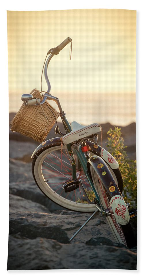 Beach Hand Towel featuring the photograph A Bike And Chi by Peter Tellone