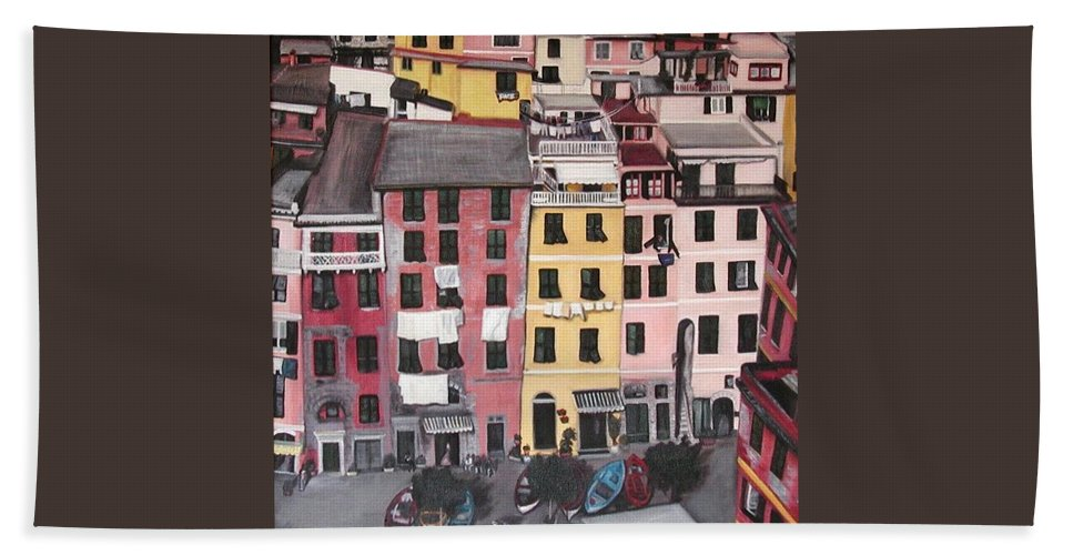 Vernazza Hand Towel featuring the painting A Bird's Eye View Of Cinque Terre by Quin Sweetman
