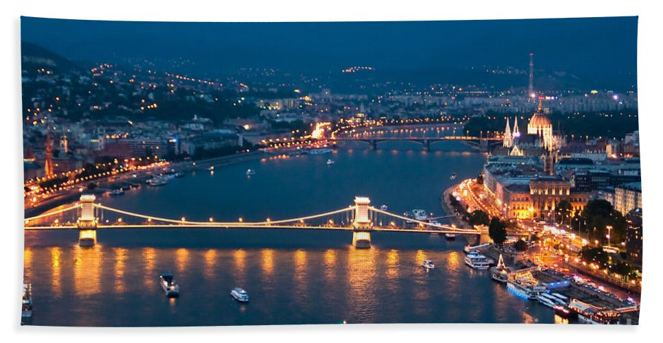 Budapest Hand Towel featuring the photograph A Birds Eye View by Syed Aqueel
