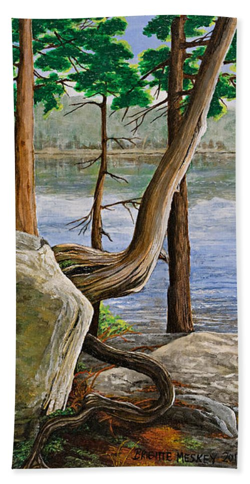 Landscape Hand Towel featuring the painting A Bit Of Muskoka by Brigitte Meskey