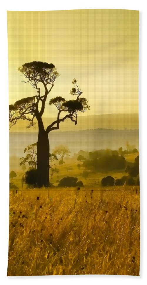 Landscapes Hand Towel featuring the photograph A Boab Sunrise by Holly Kempe