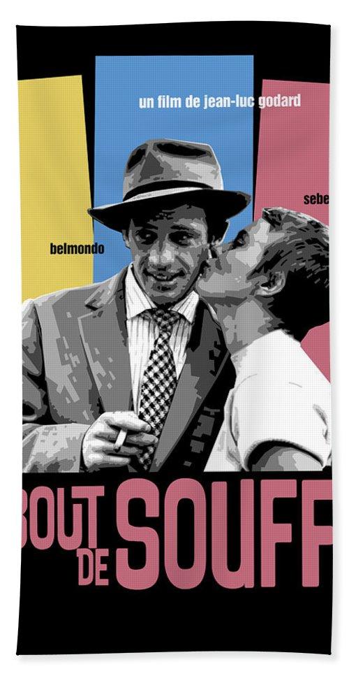 Breathless Bath Sheet featuring the digital art A Bout De Souffle Movie Poster by Douglas Simonson