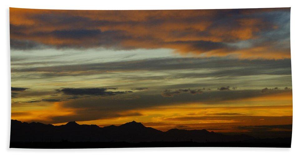 Sunset Bath Towel featuring the photograph A Break In The Storm by Saija Lehtonen