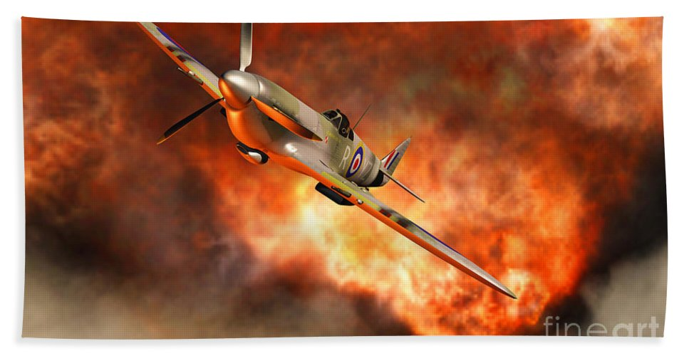 Artwork Hand Towel featuring the digital art A British Supermarine Spitfire Bursting by Mark Stevenson