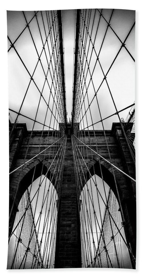 Brooklyn Bridge Arches Bath Towel featuring the photograph A Brooklyn Perspective by Az Jackson