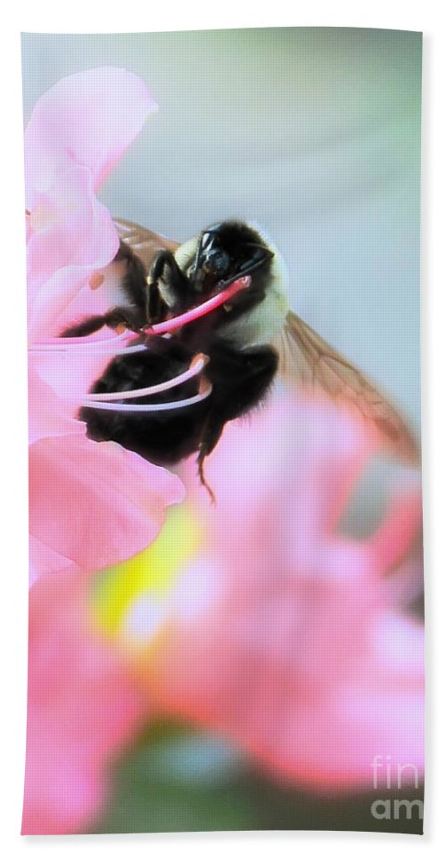 Floral Bath Sheet featuring the photograph Bumble Bee And Azalea by David Perry Lawrence