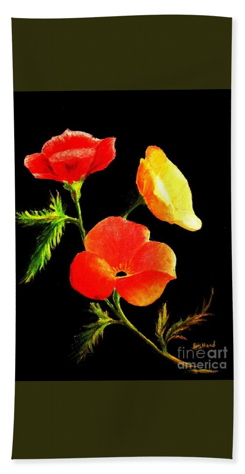 Poppies Bath Sheet featuring the painting A Burst Of Sunshine by Hazel Holland