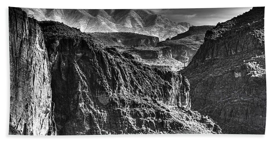 Landscape Hand Towel featuring the photograph A Canyon Storm by Phyllis Denton